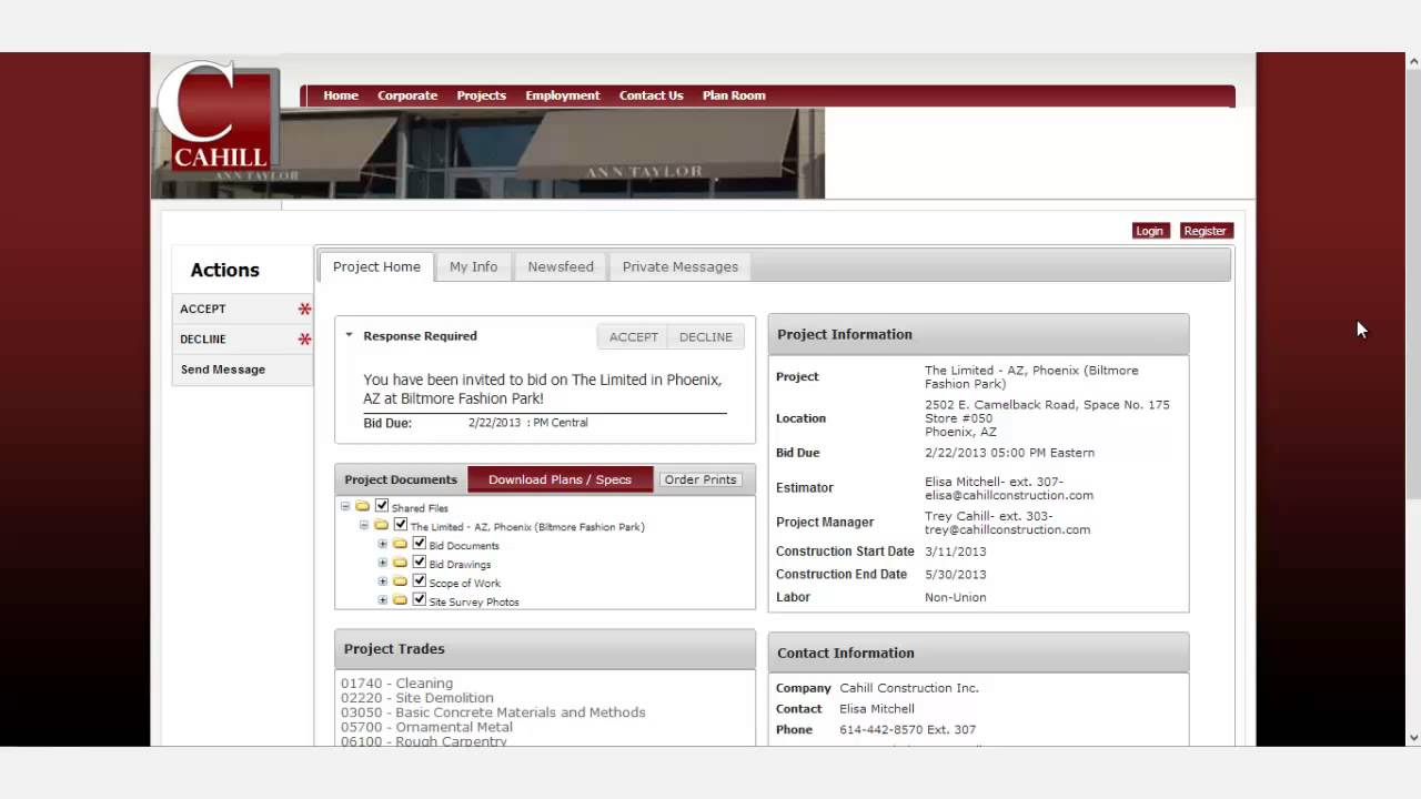 Pantera 39 s plan room subcontractor view of invitation to for How to find good subcontractors