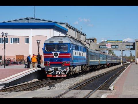 ТЭП70-0031 с пассажирским поездом Харьков - Херсон отправляется со ст.Николаев
