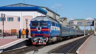 ТЭП70-0031 с пассажирским поездом Харьков - Херсон отправляется со ст.Николаев(, 2017-04-17T16:20:04.000Z)