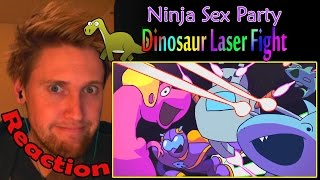 Ninja Sex Party - Dinosaur Laser Fight REACTION! | DINO VADER! | (60fps)