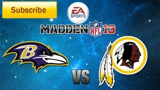 Madden 13: Baltimore Ravens vs. Washington Redskins Full Game [HD]