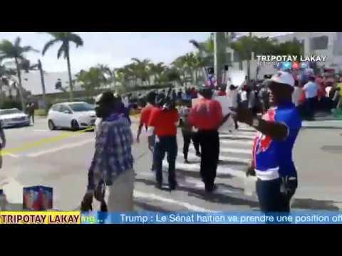Men kòman Haitien te an fas Supòtè Donald Trump yo nan Manifestasyon devan Lakay TRUMP