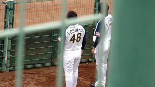 古巣・阪神との試合中、ブルペンで戦況を見守る吉野。右は香月兄こと香...