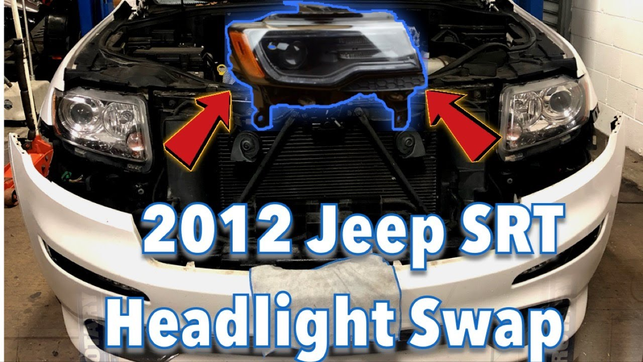 2012 jeep grand cherokee headlight swap to 2014 srt bi xenon drl led installed [ 1280 x 720 Pixel ]