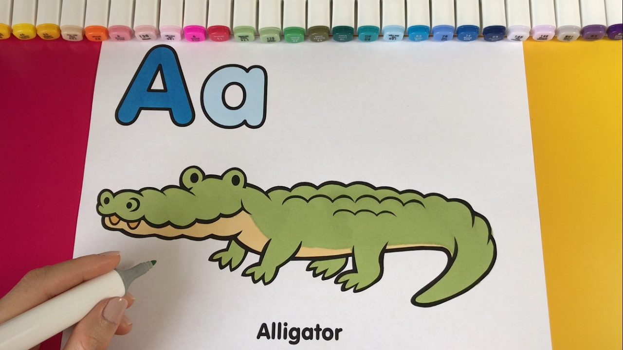 Kids Color and Learn: The Alphabet Letter A and Alligator - YouTube