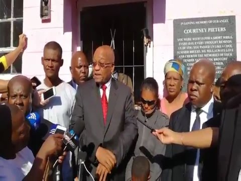 President Jacob Zuma visits the home of Courtney Pieters