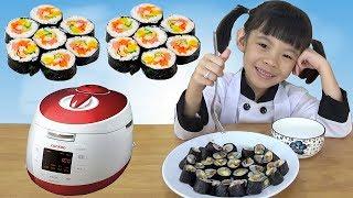 Bé thử làm món Kimbap với nồi cơm điện Cuckoo Hàn Quốc ❤ AnAn ToysReview TV ❤