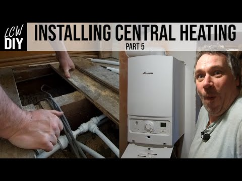 How to Install Central Heating System. part5 - Getting the heating upstairs DIY Vlog #14