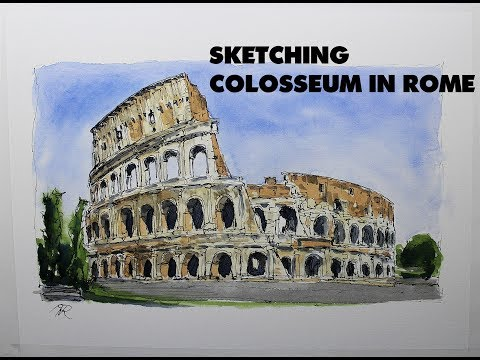 Loose Sketch, line and wash Colosseum in Rome,Easy watercolor paint by Nil Rocha