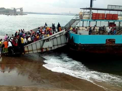 A risk attempt to cross Likoni Ferry Mombasa, Kenya during a high tide