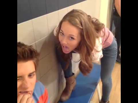 Billy Unger and Kelli Berglund on the Lab Rats set 2013