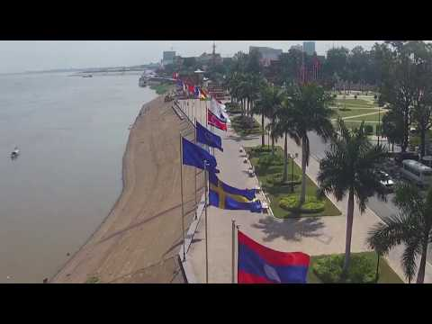 Drone Royal palace and River4face of Cambodia
