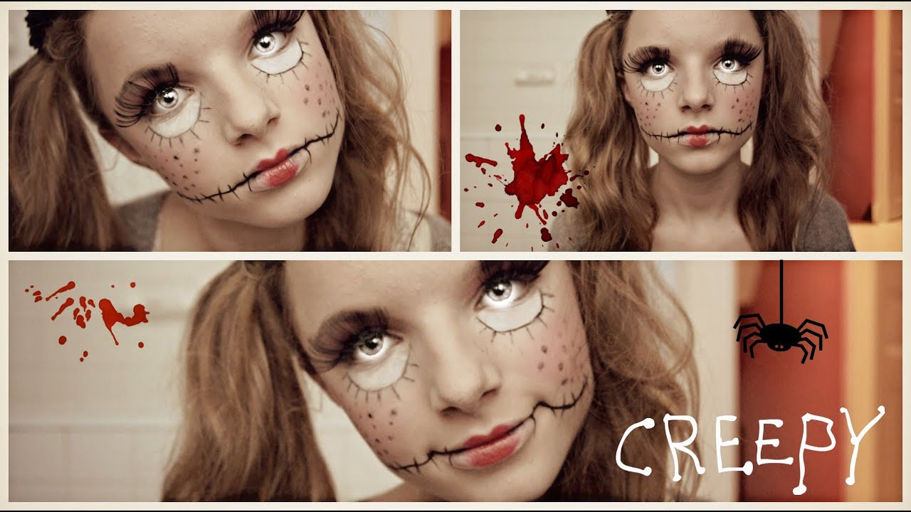 Tuto creepy doll poup e d moniaque halloween youtube - Maquillage poupe demoniaque ...