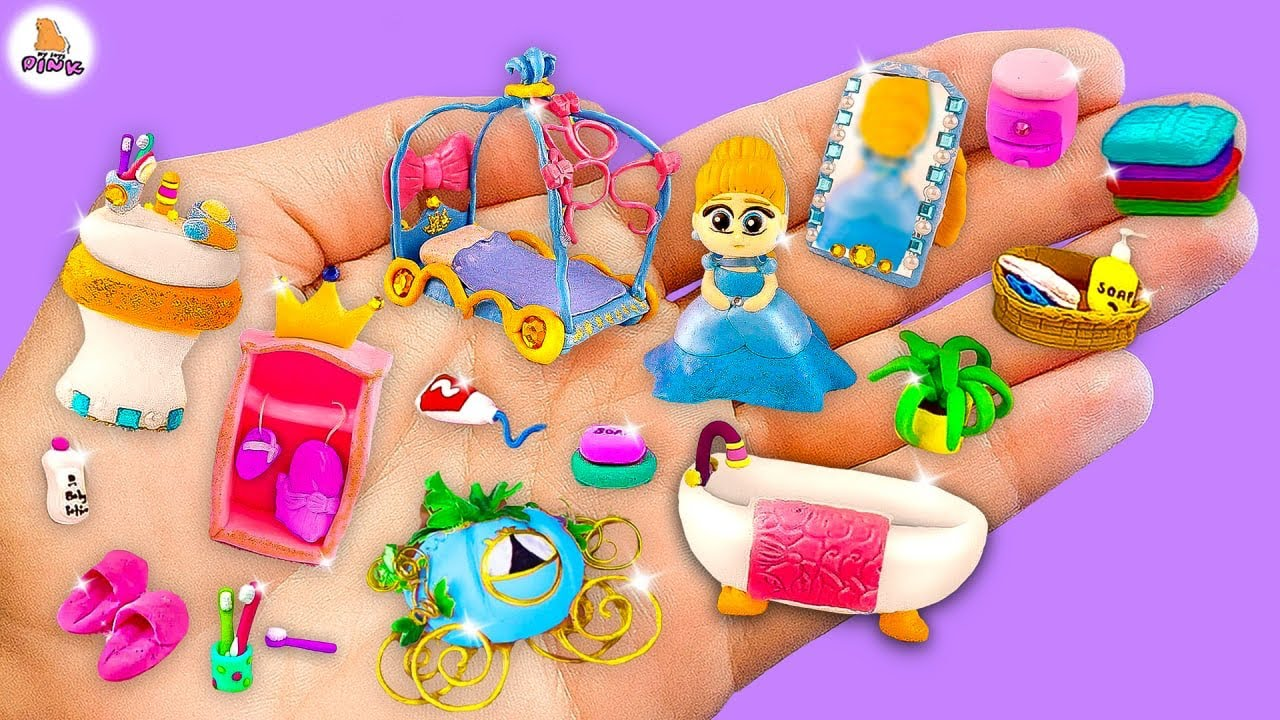 Download DIY Miniature Set w Polymer Clay! CINDERELLA hacks and crafts🍪 how to make Disney Princess Room