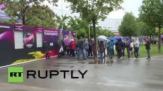 Austria: Eurovision fans brave the rain to secure tickets for Vienna finale