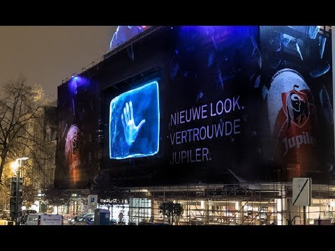 Jupiler unveils its new design in a giant holographic projection with Urban Media
