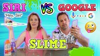 SIRI VS GOOGLE !! SIRI DECIDE MI SLIME VS GOOGLE DECIDE MI SLIME !! 3 colors slime challenge!!