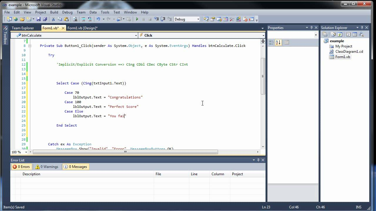 Visual Basic Tutorial 7 - Option Strict. Message Boxes. Focus. and Select Case - YouTube