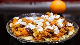 Тёплый салат с кускусом и тыквой по мароккански