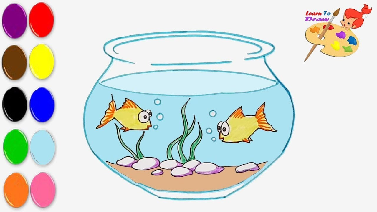 How to draw a Fish bowl /coloring pages for kids /Art colors for ...