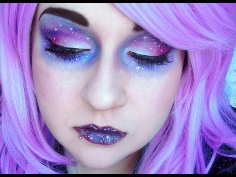 Galaxy Eyeshadow Makeup Tutorial - YouTube