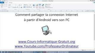 Accéder à Internet sur son PC avec son téléphone portable mobile Android (réseau cellulaire)