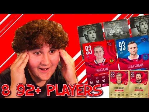 8 92+ PLAYERS AND 3 LEGENDS!!!! INSANE NHL 18 PACK OPENING!!