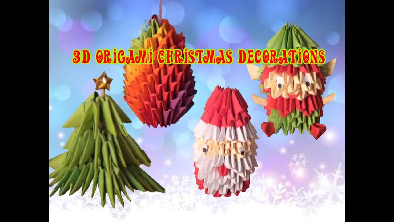 3d origami christmas decorations tutorial youtube for 3d christmas decoration