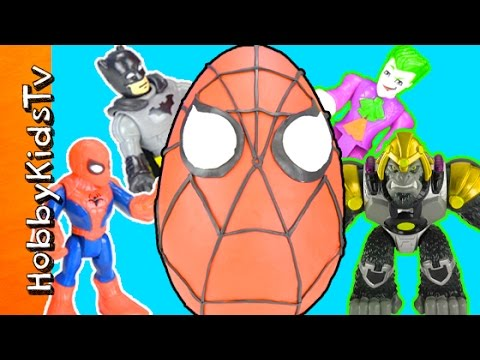Giant Spiderman Play Doh Head w/ Batman! Surprise Toys w/ Joker HobbyKidsTV