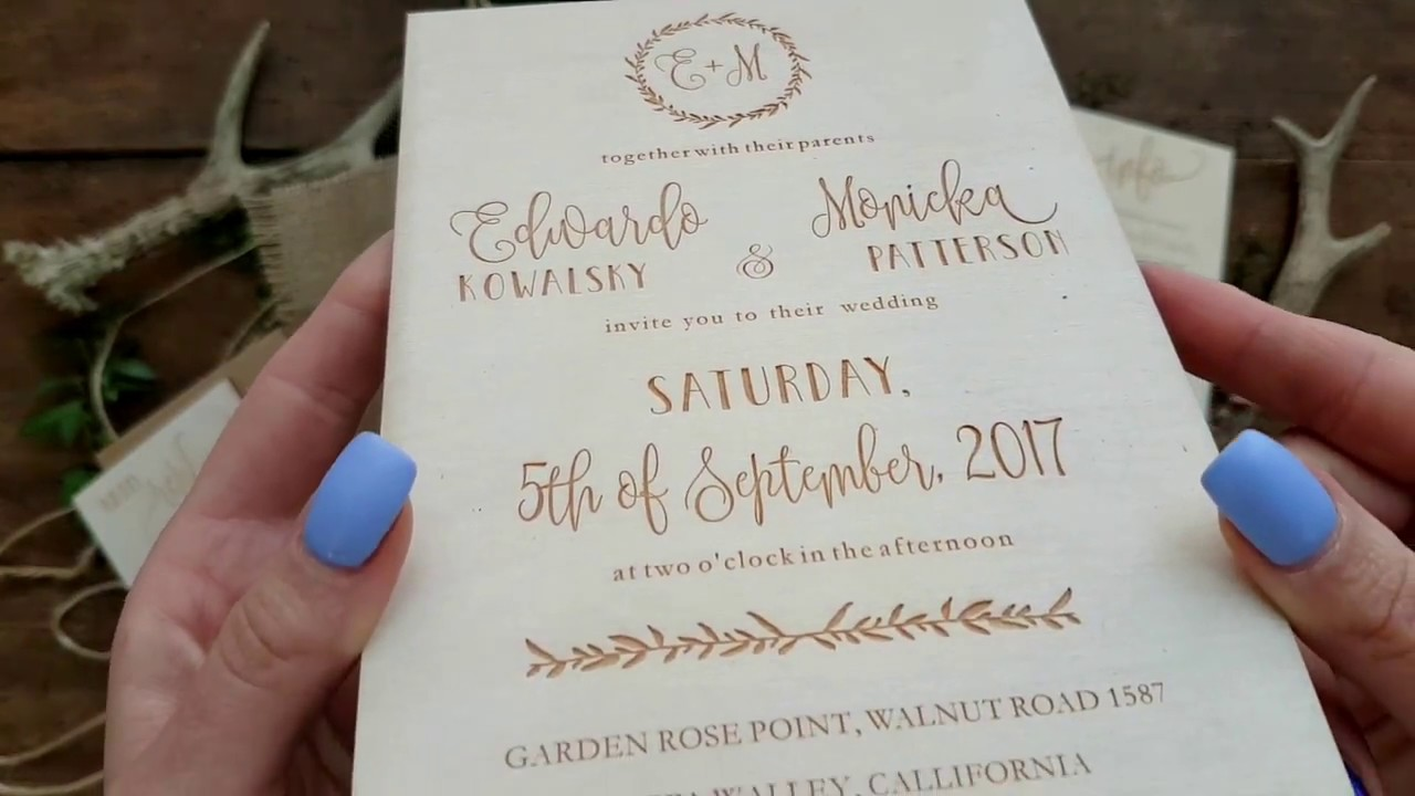 Wedding Invitations made from wood - YouTube