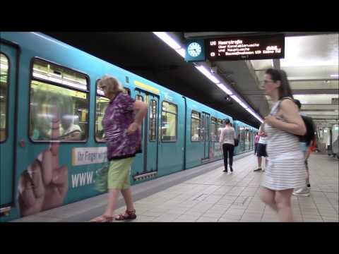 U-Bahnverkehr in Frankfurt (Teil 8). U - und Straßenbahnvekehr am Frankfurter Zoo.