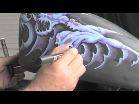 How Blacklining with Poscas brings Motorcycle Tank Painting to LIFE by Drew Brophy