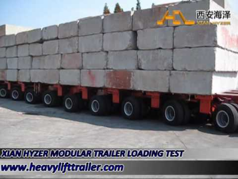 2 sets of 9 axle lines of hydraulic modular trailer loading test