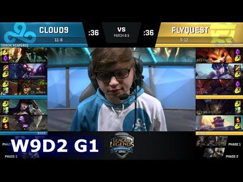 Cloud 9 vs FlyQuest | Week 9 Day 2 of S8 NA LCS Spring 2018 | C9 vs FLY W9D2 G1