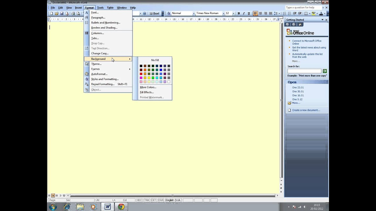 how to change the background colour of a document in word 2003 youtube
