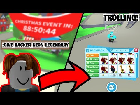 Hacking Rare Neon Legendary Pets With Admin Commands In Roblox Adopt Me Trolling Youtube
