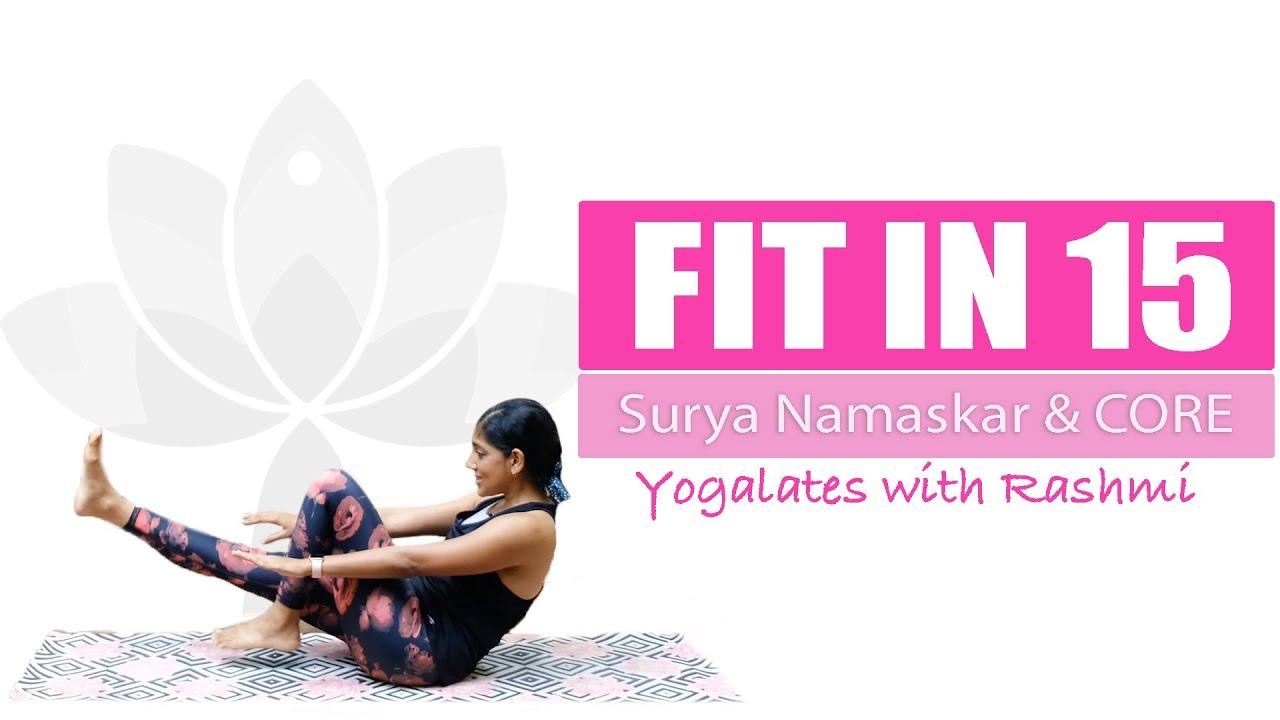 Cardio Surya Namaskar + Abs Workout   Belly Fat Burn   Yoga for Weightloss   Yogalates with Rashmi