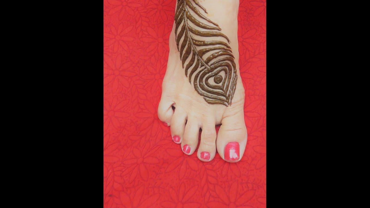 Mehndi Peacock Tattoos : Latest peacock feather mehndi tattoo design for feet by jyoti
