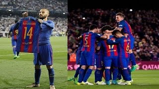 Javier mascherano first goal for barcelona 7-1 osasuna scores his ever in 319...