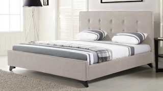 Beliani Upholstered Bed - Fabric - 5 Ft 2 Inch - King Size - Beige - Ambassador - Eng