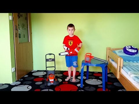Toy Lawn Mower Chainsaw Leaf Blower For Kids Youtube