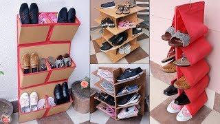 11 Shoe Stand Ideas From Waste Cardboard !!! DIY Shoe Rack... Organization Ideas