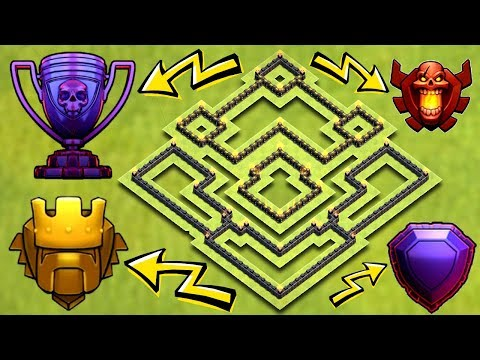 INSANE TOWN HALL 9 TROPHY BASE 2017! TH9 HYBRID BASE 2017!! - CLASH OF CLANS(COC)