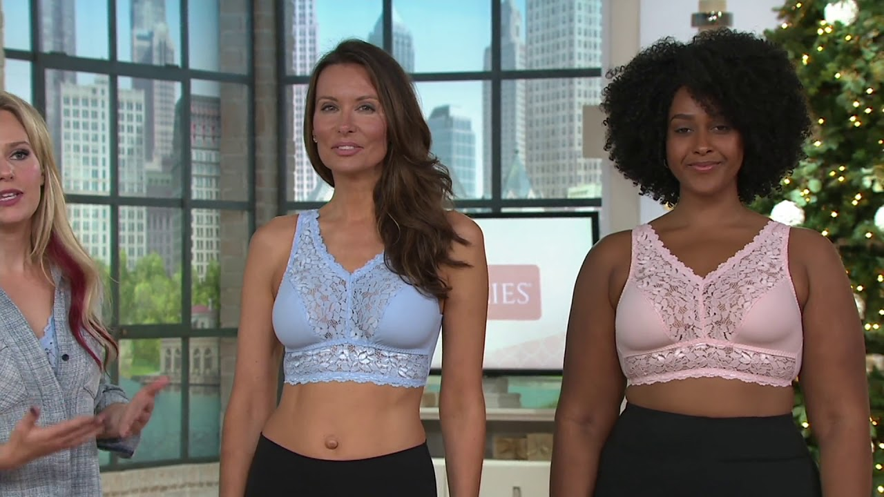 d578f29c2 Breezies Set of Two Soft Support Lace Bras on QVC - YouTube