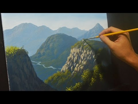 Acrylic Landscape Painting Lesson - Mountains and Cliffs 2 by JMLisondra