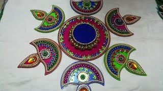 How to decorate Diya Rangoli at home/Diya Rangoli/DIY Rangoli/Rangoli at home/Simple & easy Rangoli