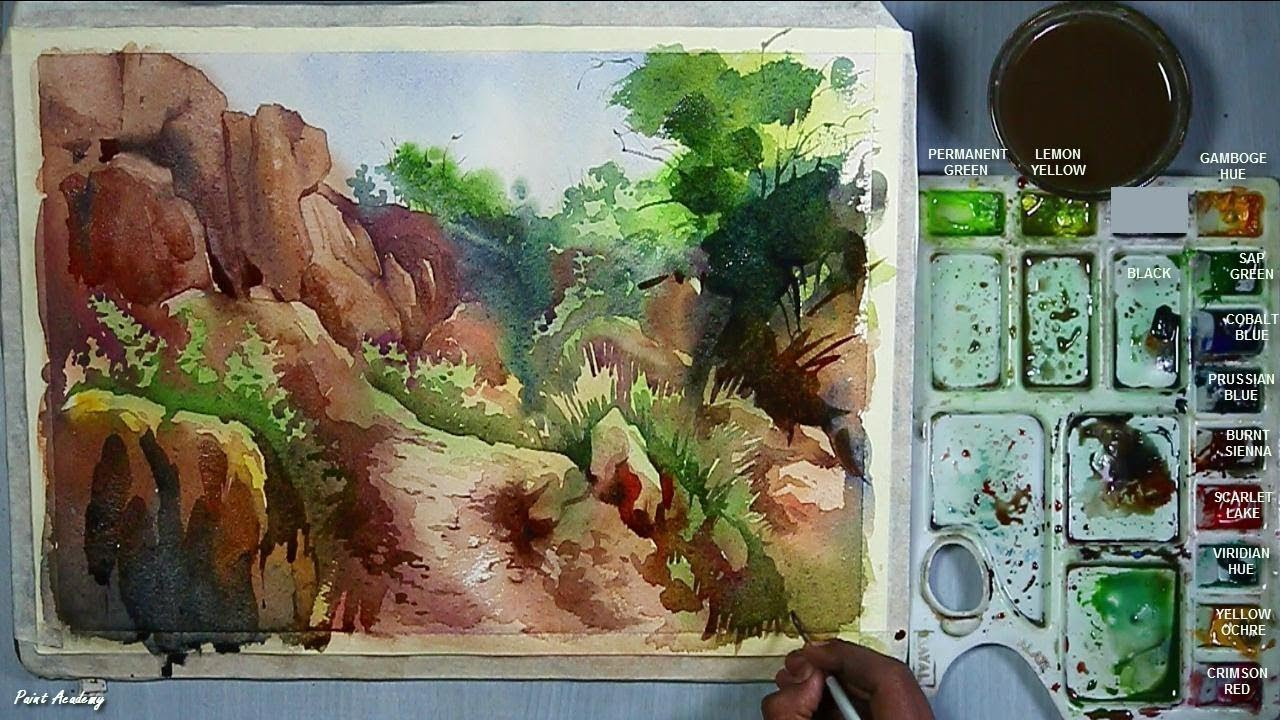 How To Paint Rocks Rocky Mountain Painting In Watercolor