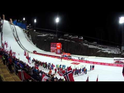 prize ceremony of ski jumping team competition HS134