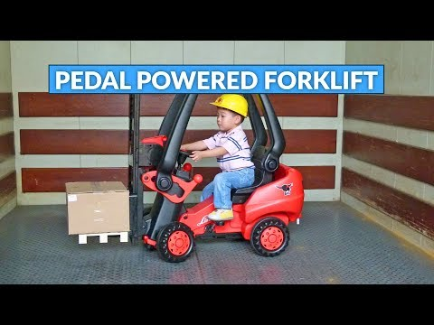 Pedal Powered Forklift - Rideable Toy Forklift Lets Your Kids Actually Pick Stuff Up