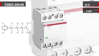 ABB ESB63-40N-06  -  Обзор модульного контактора (63А АС-1, 4НО)  - 1SAE351111R0640